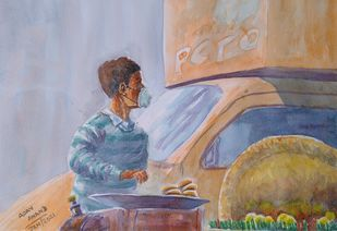 Street Food Vendor by Ajay Anand, Expressionism Painting, Watercolor on Paper, Dusty Gray color