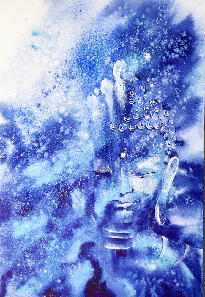 Transcendence - Buddha by Nisha Sehjpal, Decorative, Expressionism Painting, Watercolor on Paper, Danube color