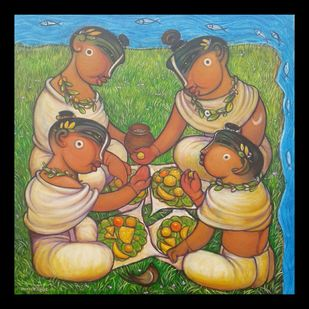 Vanbhojan by Ramesh p.gujar, Expressionism Painting, Acrylic on Canvas, Shadow color