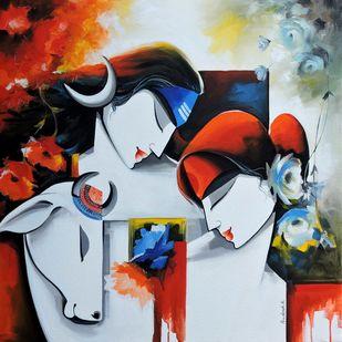 divine love by pradeesh k raman, Decorative Painting, Acrylic on Canvas, Loblolly color