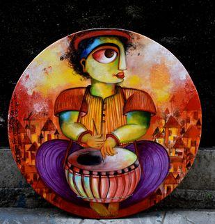 Musical bond by Sharmi Dey, Painting, Acrylic on Canvas, Gondola color