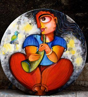 Musical bond by Sharmi Dey, Painting, Acrylic on Canvas, Eerie Black color