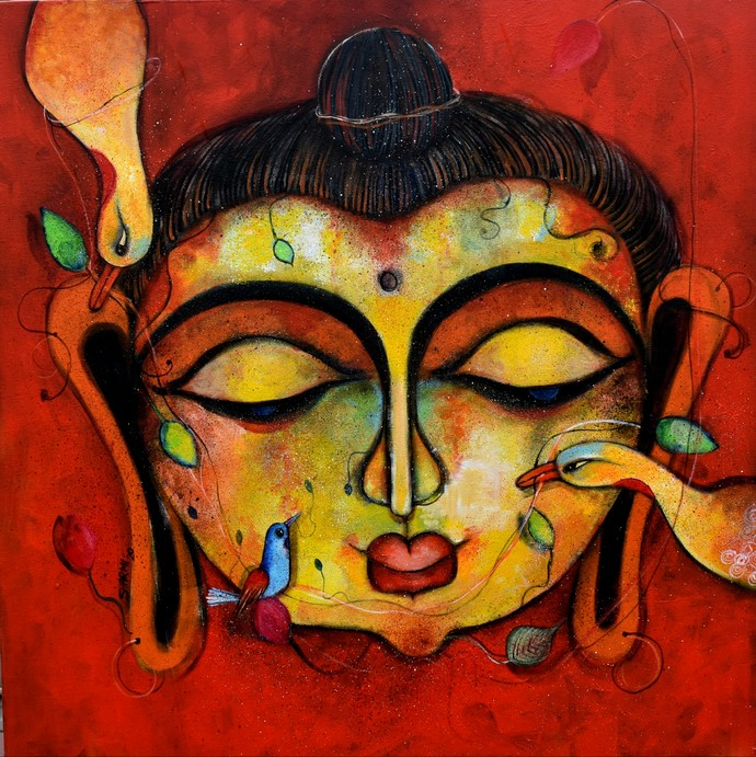 Peace by Sharmi Dey, Art Deco Painting, Acrylic on Canvas, Licorice color