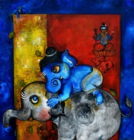 Mangala swara by Sharmi Dey, Painting, Acrylic on Canvas, Ebony Clay color