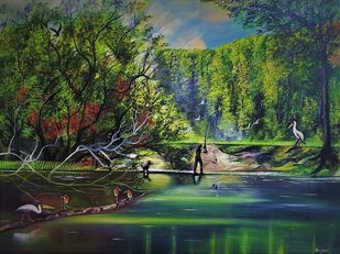 Incredible Nature by Sujata Joshi, Photorealism Painting, Acrylic on Canvas, Lunar Green color