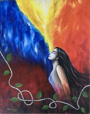 Muktha 1 by Uma Makala, Decorative Painting, Acrylic on Canvas, Blackcurrant color