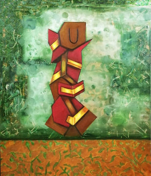 Mystical 2 by riddhima sharraf, Cubism Painting, Oil & Acrylic on Canvas, Gold Fusion color