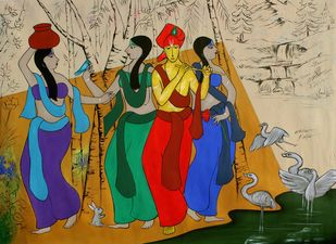 Gopis by Chetan Katigar, Abstract, Folk, Traditional Painting, Acrylic on Canvas, Blue Dianne color