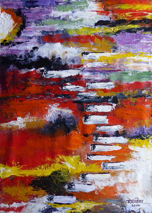 Beyond by Mallika Seth, Abstract Painting, Acrylic on Canvas, Nutmeg color