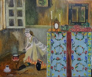 The girl and the Hungarian wardrobe by Harleen Kaur Johal, Impressionism Painting, Acrylic on Canvas, Crocodile color