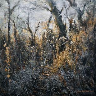 Golden-grass by Ranabir Saha, Abstract, Expressionism Painting, Acrylic on Canvas, Tuatara color