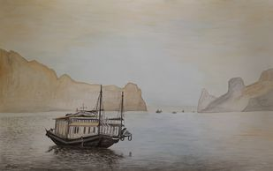 Boat Seascape by Surendra Kumar Srivastava, Decorative, Illustration Painting, Watercolor on Paper, Gray color