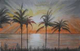 Evening Palm Scenery by Surendra Kumar Srivastava, Decorative Painting, Watercolor on Paper, Sandstone color