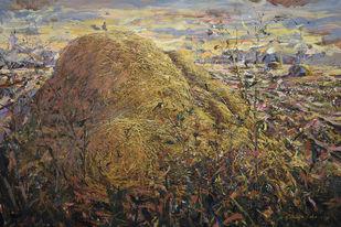 Haystack by Ranabir Saha, Abstract Painting, Acrylic on Canvas, Roman Coffee color