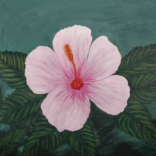 Pink Hibiscus Flower by Gitika Singh, Illustration Painting, Acrylic on Canvas, Lily color