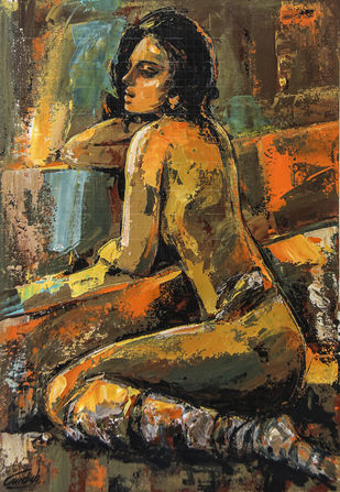 Love Days Angelina by gurdish pannu, Expressionism Painting, Acrylic on Canvas, Mondo color