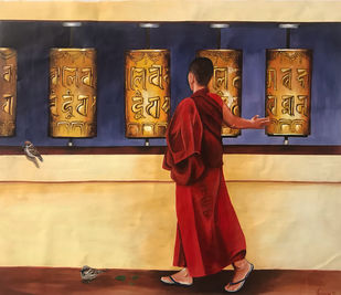 Prayer to Buddha by Kangana Vohra , Realism Painting, Acrylic on Canvas, Thunder color