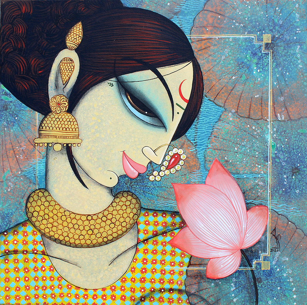 beauty with lotus by Varsha Kharatmal, Expressionism Painting, Acrylic & Graphite on Canvas, Granny Smith color