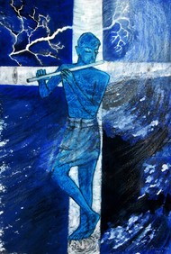 Chrisna by Caesar Das, Expressionism Painting, Mixed Media on Paper, Ziggurat color