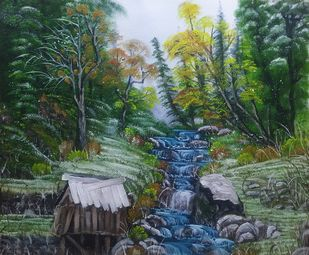 Cabin in Snowy Woods by Hemant Verma, Impressionism Painting, Oil on Canvas, Lunar Green color