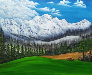 Snow Green by Hemant Verma, Impressionism Painting, Oil on Canvas, Woodland color