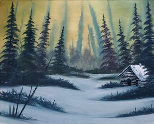 Winter Woods Solitude by Hemant Verma, Impressionism Painting, Oil on Canvas, Granny Smith color