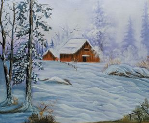 Snow on the Farm by Hemant Verma, Impressionism Painting, Oil on Canvas, Manatee color