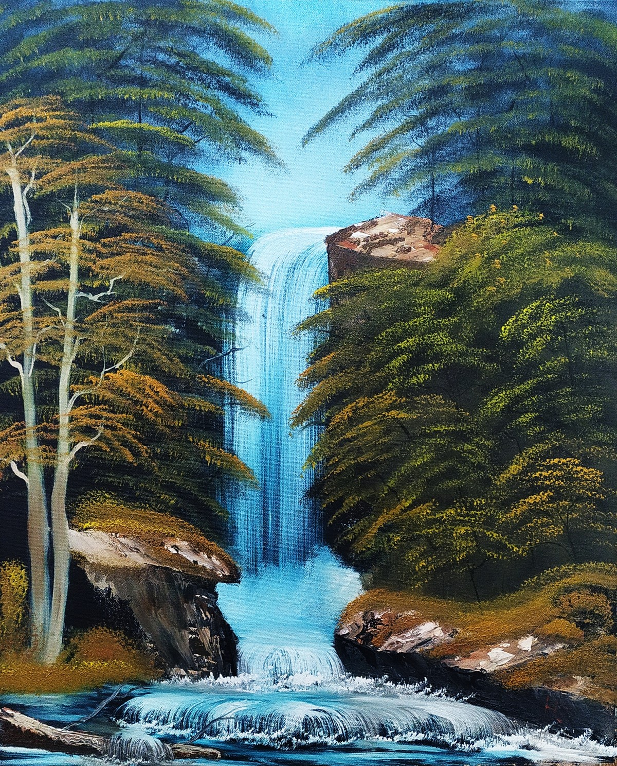 The Great Waterfall by Hemant Verma, Painting, Oil on Canvas, Outer Space color