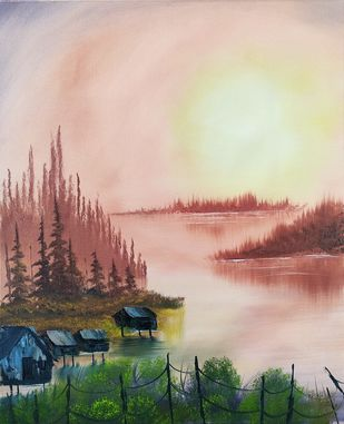 Water Cabin by Hemant Verma, Impressionism Painting, Oil on Canvas, Lunar Green color