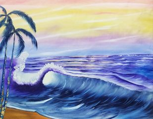 Blue Waves by Hemant Verma, Impressionism Painting, Oil on Canvas, Chambray color