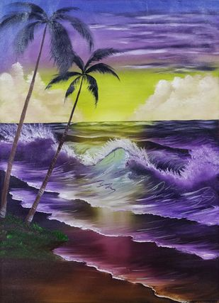 High Tides by Hemant Verma, Illustration, Impressionism Painting, Oil on Canvas, Blackcurrant color
