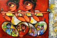 HYMNS by Sharmi Dey, Expressionism Painting, Acrylic on Canvas, Roof Terracotta color