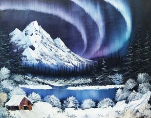 Northern Lights by Hemant Verma, Impressionism Painting, Oil on Canvas, Geyser color