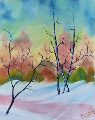 Snowfall Magic by Hemant Verma, Illustration, Impressionism Painting, Oil on Canvas, Green Spring color
