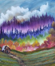 Multicolored Forest Solitude by Hemant Verma, Impressionism Painting, Oil on Canvas, Scorpion color