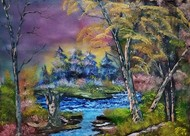 Fallen Trees by Hemant Verma, Impressionism Painting, Oil on Canvas, Flint color