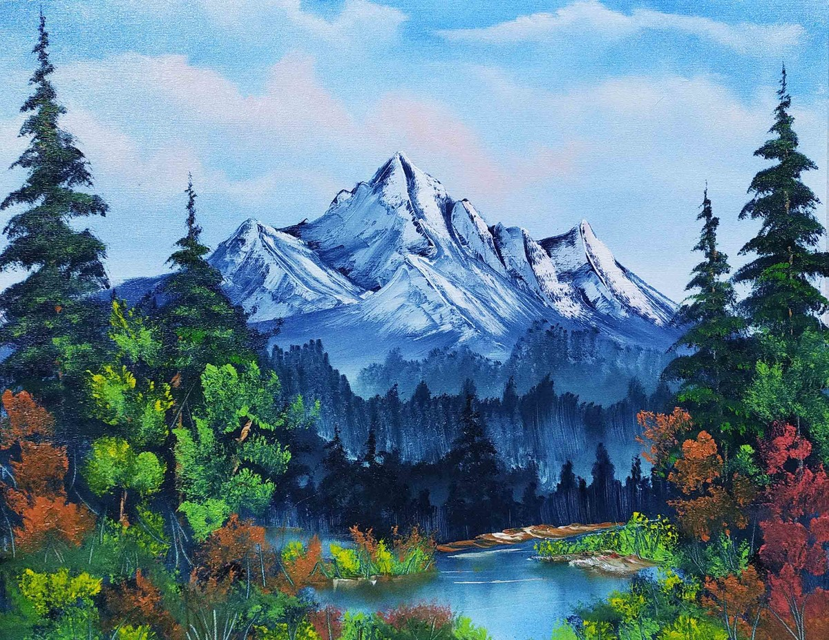 Evergreen Nature by Hemant Verma, Impressionism Painting, Oil on Canvas, Pickled Bluewood color