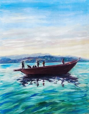 Sparkling water by Ankita Chauhan, Impressionism Painting, Oil on Paper, Elm color