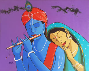 radha-krisna by Prakash Pore, Folk Painting, Acrylic on Canvas, Violet Purple color