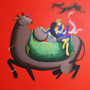 love and music by Prakash Pore, Conceptual, Folk Painting, Acrylic on Canvas, Punch color