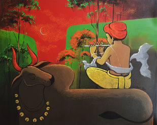 flute and nature by Prakash Pore, Conceptual, Decorative, Traditional Painting, Acrylic on Canvas, Mojo color