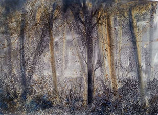 Forest once visited 1 by Suman Choudhury, Abstract, Art Deco, Expressionism Painting, Watercolor on Paper, Dove Gray color