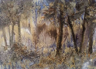 Forest once visited 2 by Suman Choudhury, Abstract, Art Deco, Expressionism Painting, Watercolor on Paper, Sandstone color