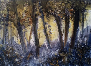 Forest once visited 4 by Suman Choudhury, Abstract, Art Deco Painting, Watercolor on Paper, Ship Gray color