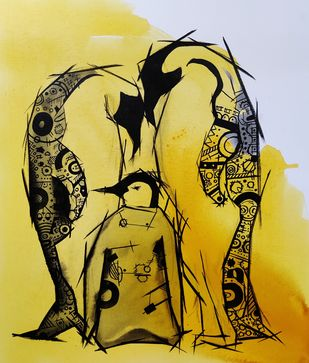 Kin by Sanket Sagare, Decorative, Illustration Painting, Acrylic on Canvas, Oil color
