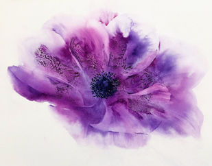 Purple Anemone by Nisha Sehjpal, Abstract Painting, Watercolor on Paper, Vivid Violet color