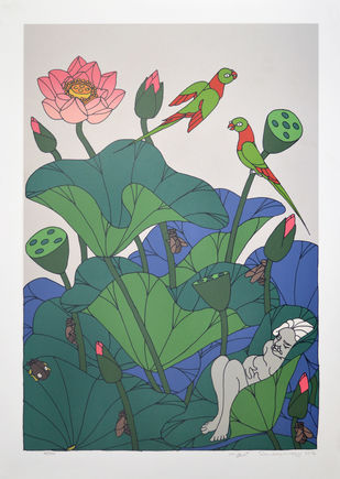 Untitled by A Ramachandran, Decorative Serigraph, Serigraph on Paper, Swiss Coffee color