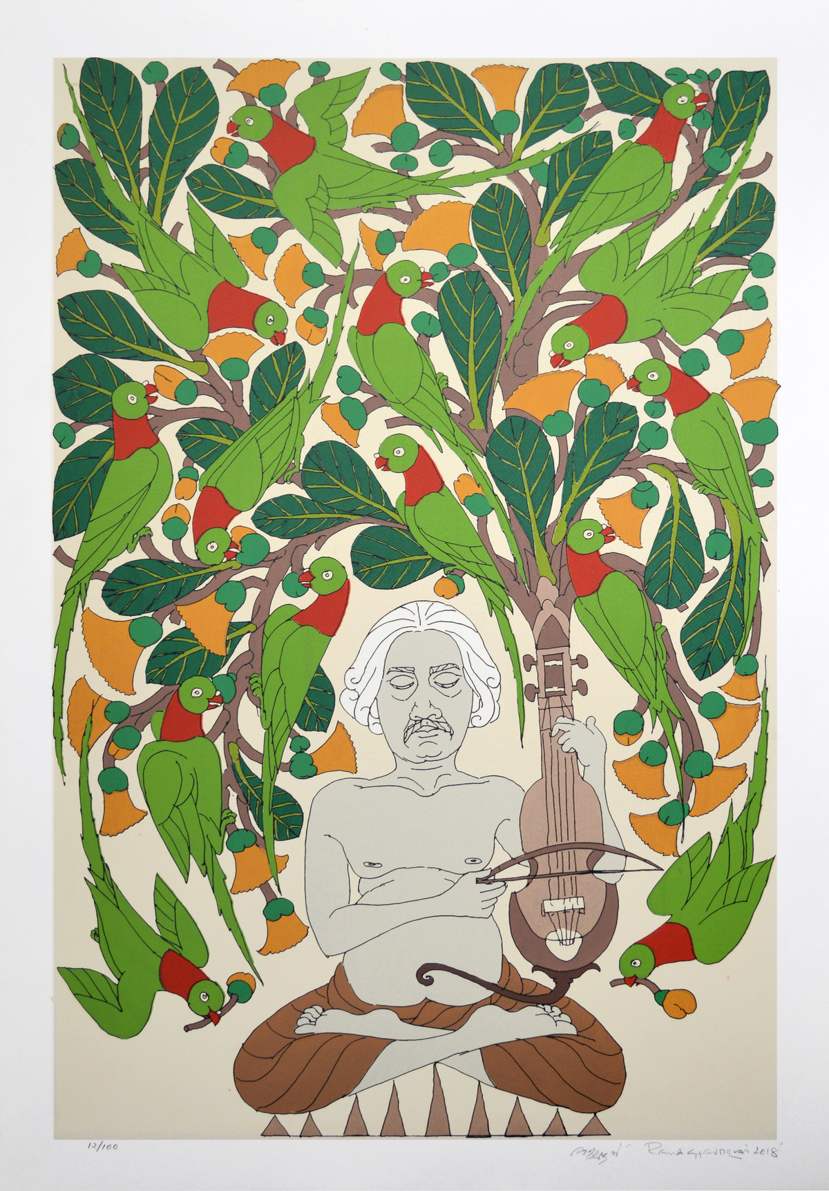 Untitled by A Ramachandran, Decorative Serigraph, Serigraph on Paper, Westar color