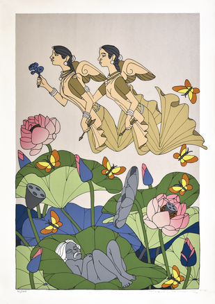 Untitled by A Ramachandran, Decorative Serigraph, Serigraph on Paper, Nandor color
