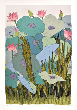 Untitled by A Ramachandran, Decorative Serigraph, Serigraph on Paper, Celeste color